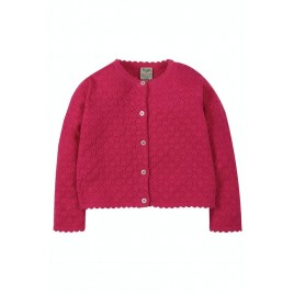 Frugi Pea Pointelle Cardigan Rich Pink