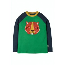 Frugi Jake Applique Top  Glen Green/Tiger