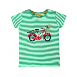 Frugi Camille Applique Tee  Jewel Fine Stripe-Bike
