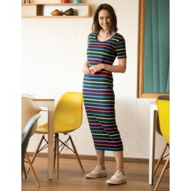 Frugi Melanie Nursing Dress India Ink Stripe