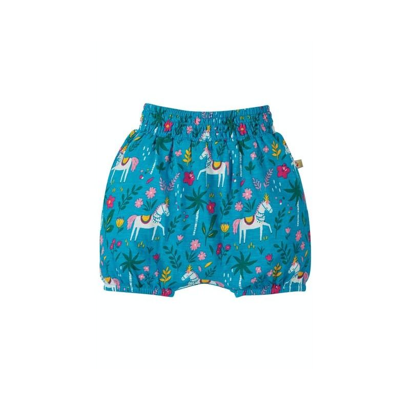 Frugi Steph Smocked  Shorts Teal India Horse