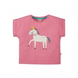 Frugi Sophia Slub T-shirt Mid Pink/Horse
