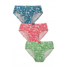 Frugi Polly  Printed Briefs Shorts 3 Pack Mini Bloom  Multi