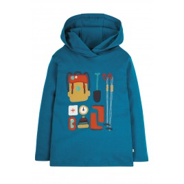 Frugi Campfire Hooded Top Loch Blue/Hiking