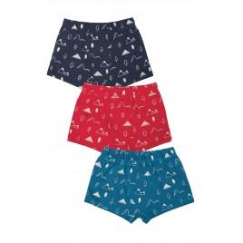 Frugi Sean Printed Boxer Shorts 3 Pack Mountain Multi