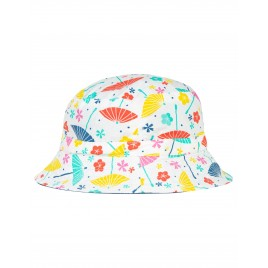 Frugi Hattie Reversible  Hat soft white parasols