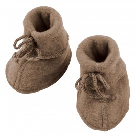 Engel Baby Bootees with Ribbon Walnut mélange