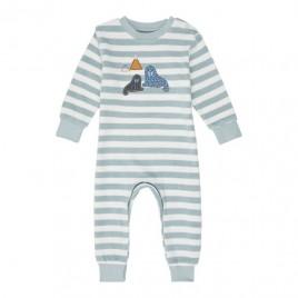 Sense Organics Viktor Retro Baby Terry Romper Aqua Stripes + Walrus