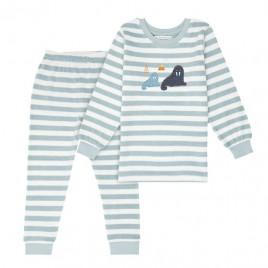 Sense Organics Long John Retro Terry Pyjama Aqua Stripes + Walrus
