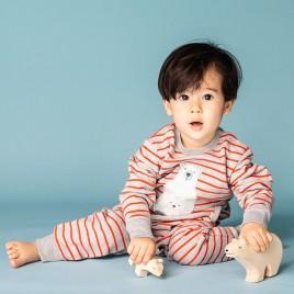 Sense Organics Strindberg Baby Sweat Romper Grey/Red + Polar Bear