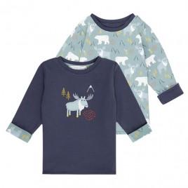Sense Organics Felix Baby Reversible Shirt Navy + Reindeer
