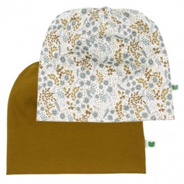 Green Cotton Botany Beanie Baby 2 Pack Buttercream
