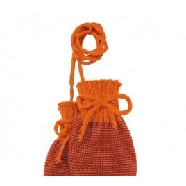 Disana Knitted Gloves orange-bordeaux