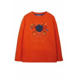 Frugi Adventure Applique Top Tiger Orange/Spider