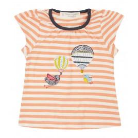 Sense Organics Gada Baby Shirt S/S coral stripes+birds/bal